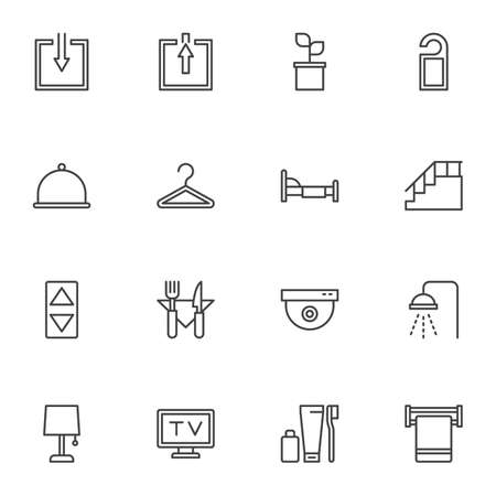 Hotel service line icons set, outline vector symbol collection, linear style pictogram pack. Signs, logo illustration. Set includes icons as door hanger, restaurant food, television set, shower, bed