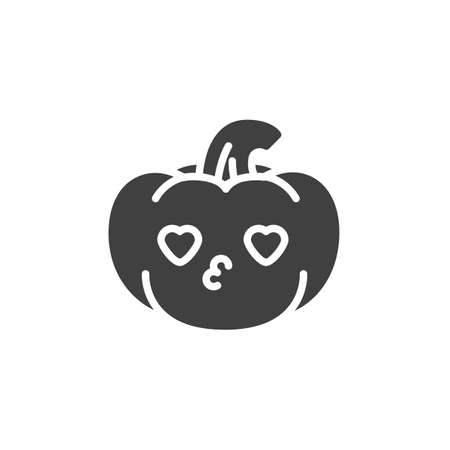 Pumpkin kissing face with heart eyes emoticon vector icon. filled flat sign for mobile concept and web design. Pumpkin emoji in love glyph icon. Symbol, logo illustration. Vector graphics Иллюстрация
