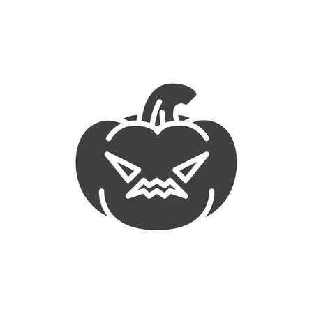 Angry pumpkin face emoticon vector icon. filled flat sign for mobile concept and web design. Halloween pumpkin emoji glyph icon. Symbol, logo illustration. Vector graphics