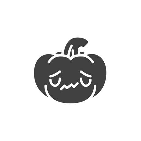 Sad pumpkin face emoji vector icon. filled flat sign for mobile concept and web design. Halloween pumpkin unhappy emoticon glyph icon. Symbol, logo illustration. Vector graphics