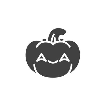 Smiling pumpkin face with smiling eyes emoji vector icon. filled flat sign for mobile concept and web design. Happy halloween pumpkin emoticon glyph icon. Symbol, logo illustration. Vector graphics Иллюстрация