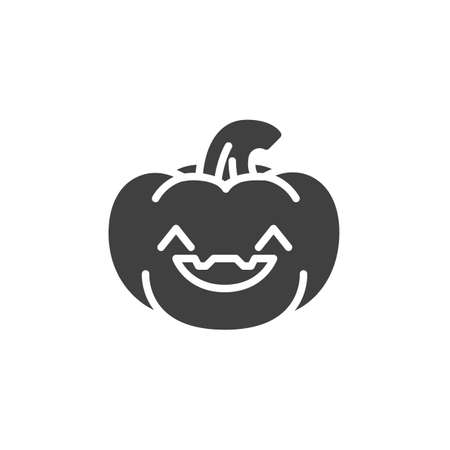 Happy pumpkin face emoji vector icon. filled flat sign for mobile concept and web design. Pumpkin emoticon glyph icon. Symbol, logo illustration. Vector graphics Иллюстрация