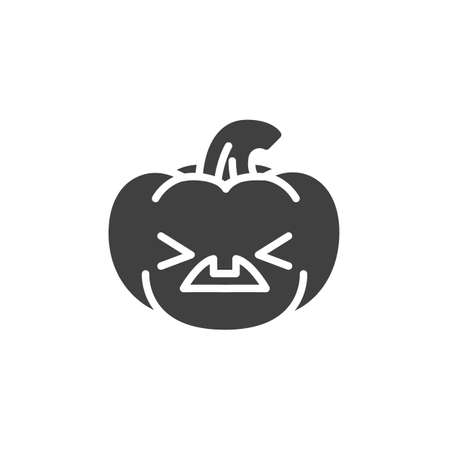 Tired pumpkin face emoji vector icon. filled flat sign for mobile concept and web design. Sick pumpkin emoticon glyph icon. Symbol, logo illustration. Vector graphics