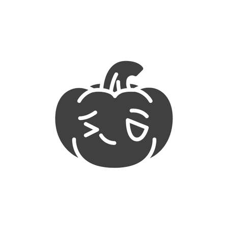 Winking pumpkin face emoji vector icon. filled flat sign for mobile concept and web design. Halloween pumpkin emoticon glyph icon. Symbol, logo illustration. Vector graphics Ilustração