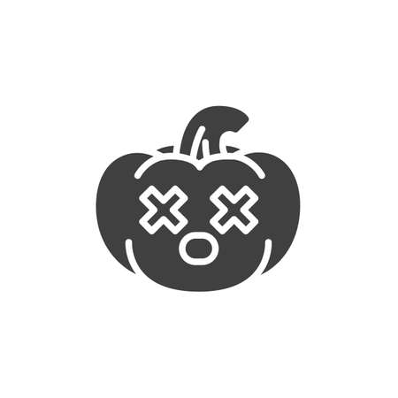 Dizzy pumpkin face emoji vector icon. filled flat sign for mobile concept and web design. Pumpkin emoticon with crossed eyes glyph icon. Symbol, logo illustration. Vector graphics