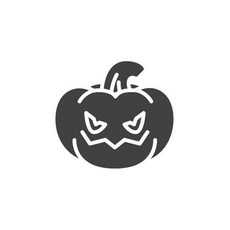 Angry pumpkin face emoji vector icon. filled flat sign for mobile concept and web design. Crazy pumpkin emoticon glyph icon. Symbol, logo illustration. Vector graphics Ilustração