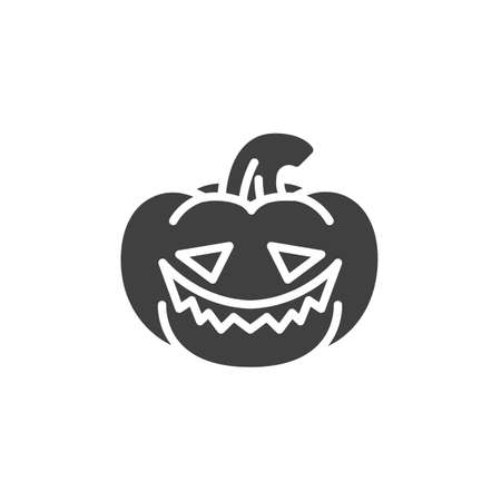 Halloween pumpkin emoticon vector icon. filled flat sign for mobile concept and web design. Laughing pumpkin face emoji glyph icon. Symbol, logo illustration. Vector graphics