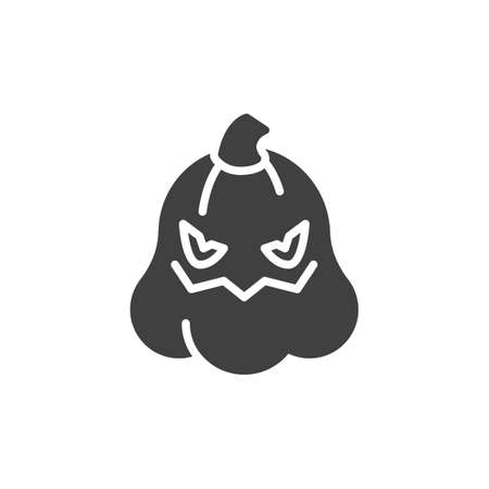 Spooky halloween pumpkin face emoticon vector icon. filled flat sign for mobile concept and web design. Horror pumpkin emoji glyph icon. Symbol, logo illustration. Vector graphics 免版税图像 - 151103696