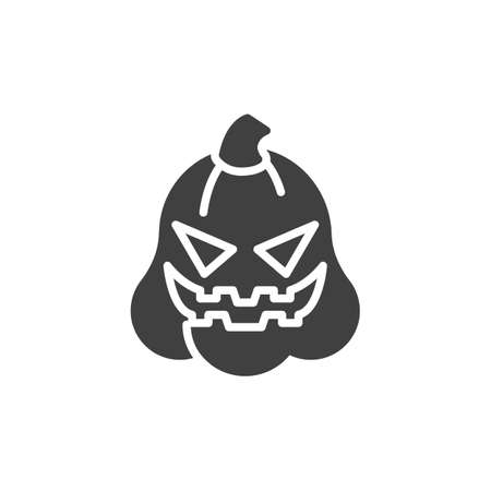 Happy Halloween pumpkin face emoticon vector icon. filled flat sign for mobile concept and web design. Spooky pumpkin emoji glyph icon. Symbol, logo illustration. Vector graphics Ilustracja