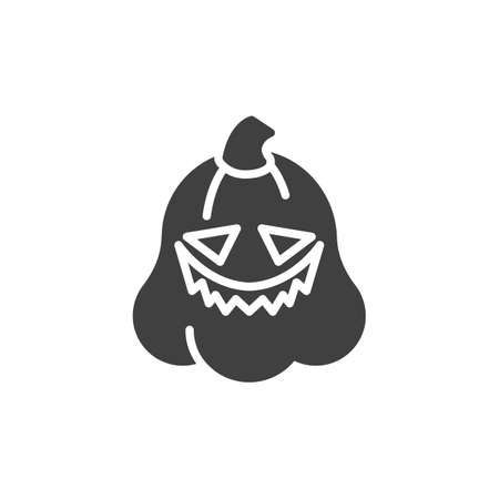 Confused pumpkin face emoticon vector icon. filled flat sign for mobile concept and web design. Scared pumpkin emoji glyph icon. Symbol, logo illustration. Vector graphics