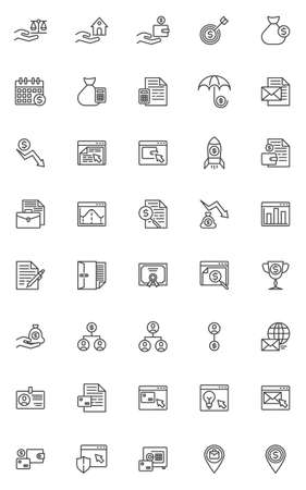 Business and finance line icons set. linear style symbols collection, outline signs pack. vector graphics. Set includes icons as internet banking, financial accounting, money pay, online analytics