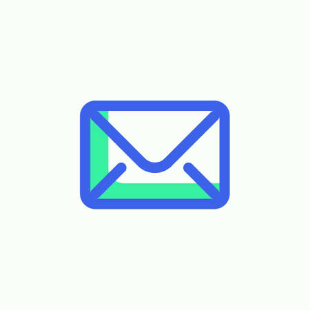 Envelope mail icon vector, Message, email filled flat sign, bicolor pictogram, green and blue colors. Illustration