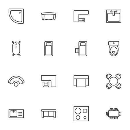Home interior furniture line icons set, outline vector symbol collection, linear style pictogram pack. Signs, logo illustration. Set includes icons as sofa and armchair, toilet, sink, kitchen stove