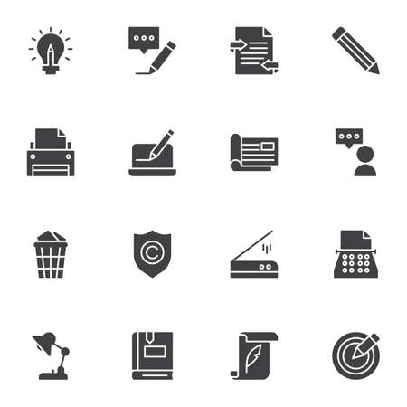 Copywriting related vector icons set, modern solid symbol collection, filled style pictogram pack. Signs, logo illustration. Set includes icons as message writing, typewriter machine, printer, book Logo