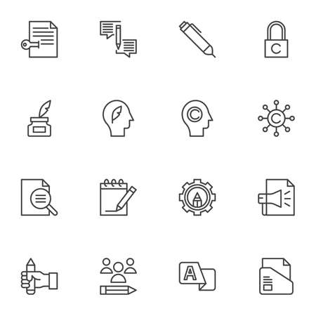 Copywriting related line icons set, outline vector symbol collection, linear style pictogram pack. Signs, logo illustration. Set includes icons as digital marketing, advertising submission, document