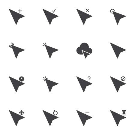 Arrow cursor vector icons set, modern solid symbol collection, filled style pictogram pack. Signs, logo illustration. Set includes icons as mouse cursor click, add, check, navigation arrow