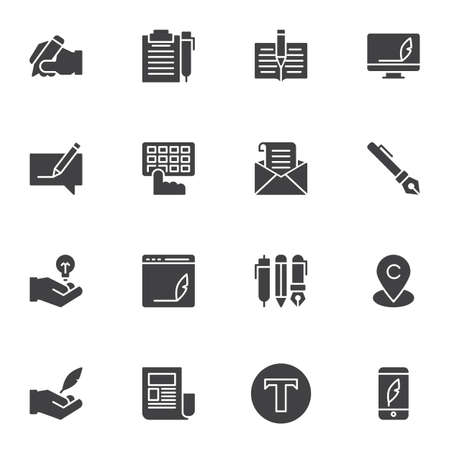 Copywriting vector icons set, modern solid symbol collection, filled style pictogram pack. Signs, logo illustration. Set includes icons as copywriting, writing, documents, pen, notebook, keyboard
