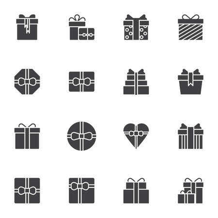 Gifts vector icons set, modern solid symbol collection, filled style pictogram pack. Signs, logo illustration. Set includes icons as gift box with bow ribbon , birthday cake, heart shaped box