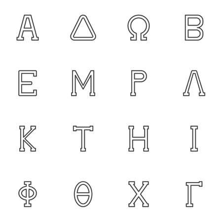 Greek symbols line icons set, outline vector symbol collection, linear style pictogram pack. Signs, logo illustration. Set includes icons as alphabet letters Alpha, Delta, Omega, Beta, Epsilon, Lambda