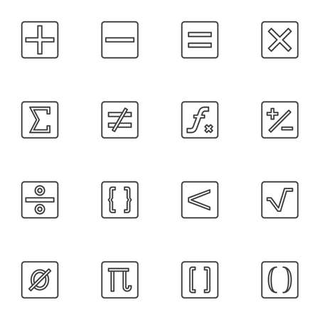 Calculator symbols line icons set, math outline vector symbol collection, linear style pictogram pack. Signs, logo illustration. Set includes icons as addition, subtraction, multiplication, division