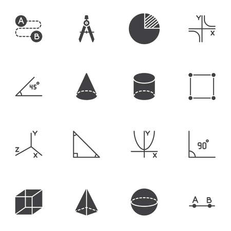 Geometry shapes vector icons set, algebra and geometry modern solid symbol collection, filled style pictogram pack. Signs logo illustration. Set includes icons - triangle, cylinder, square angle, cube