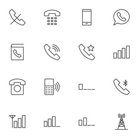 Mobile phone functions line icons set, smartphone outline vector symbol collection, linear style pictogram pack. Signs logo illustration. Set includes icons - contact book, telephone call, wifi signal Ilustrace