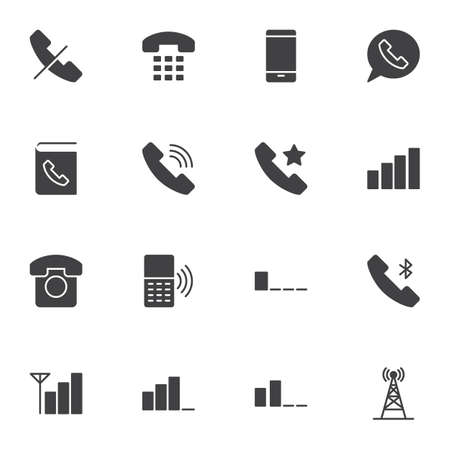 Mobile phone functions vector icons set, smartphone modern solid symbol collection, filled style pictogram pack. Signs logo illustration. Set includes icons - contact book, telephone call, wifi signal