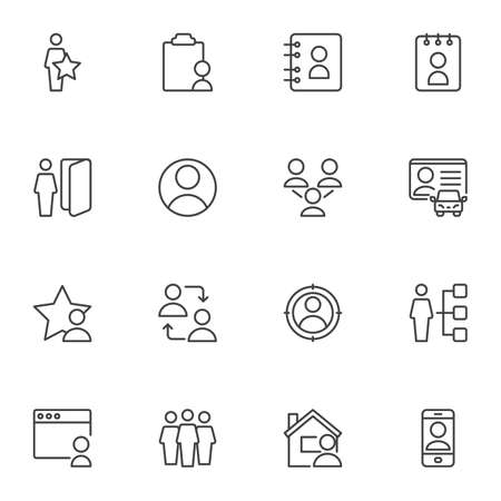 User contact line icons set, outline vector symbol collection, linear style pictogram pack. Signs, logo illustration. Set includes icons as contact address book, driver license, people group, friends Logo