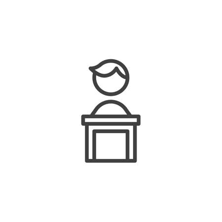 Speaker podium line icon. linear style sign for mobile concept and web design. Business man speech outline vector icon. Symbol, logo illustration. Vector graphics