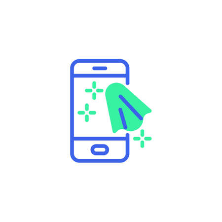 Cleaning mobile phone icon vector, filled flat sign, cell phone clean bicolor pictogram, green and blue colors. Symbol, logo illustration