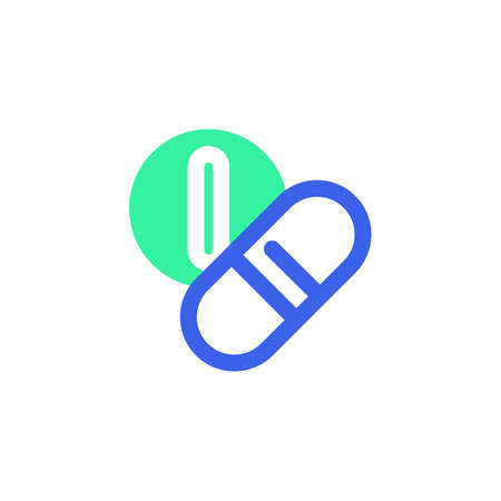 Medicines icon vector, filled flat sign, bicolor pictogram, medical pills green and blue colors. Symbol, logo illustration