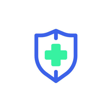 Medical insurance icon vector, filled flat sign, shield with medical cross bicolor pictogram, green and blue colors. Symbol, logo illustration  イラスト・ベクター素材
