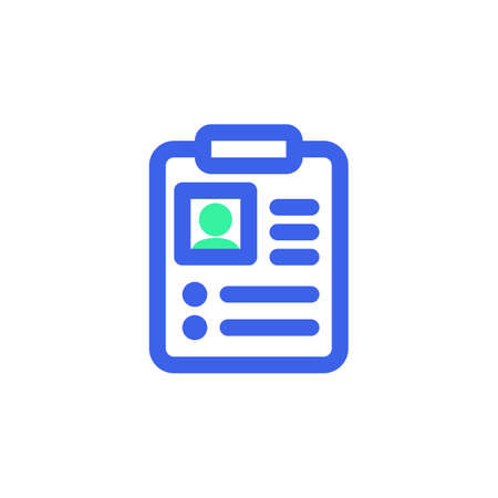 Patient card icon vector, medical record filled flat sign, bicolor pictogram, green and blue colors. Symbol, logo illustration  イラスト・ベクター素材