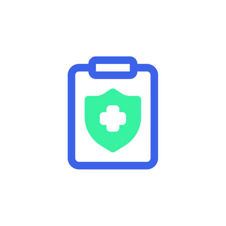 Medical insurance icon vector, filled flat sign, clipboard with shield and cross bicolor pictogram, green and blue colors. Symbol, logo illustration