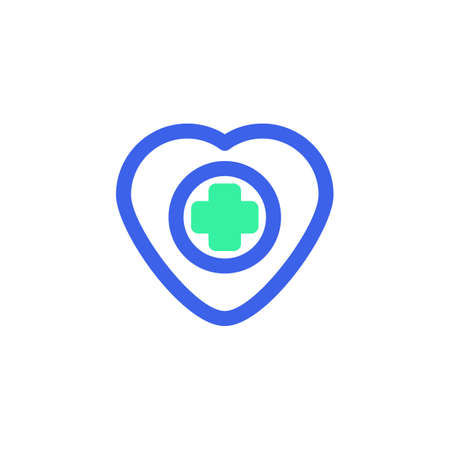 Medical heart icon vector, cardiology heart filled flat sign, bicolor pictogram, green and blue colors. Symbol, logo illustration