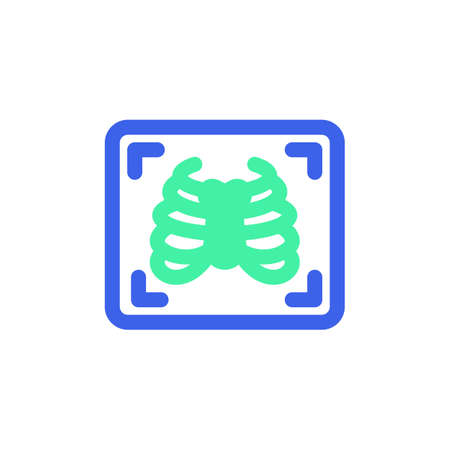 Chest x-ray icon vector, filled flat sign, bicolor pictogram, Medical X ray green and blue colors. Symbol, logo illustration
