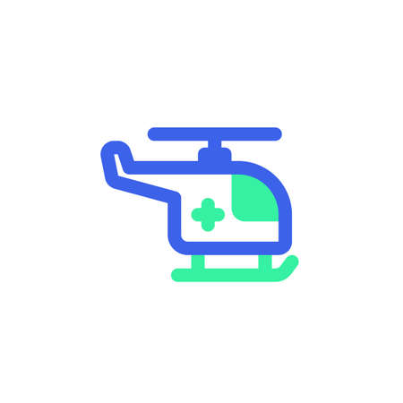 Ambulance helicopter icon vector, filled flat sign, bicolor pictogram, green and blue colors. Symbol, logo illustration
