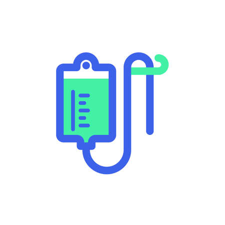 Medical Infusion icon vector, filled flat sign, bicolor pictogram, green and blue colors. Symbol, logo illustration