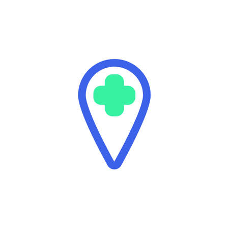 Hospital location icon vector, filled flat sign, Map marker with medical cross bicolor pictogram, green and blue colors. Symbol, logo illustration  イラスト・ベクター素材