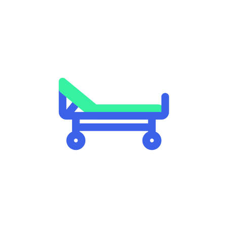 Stretcher icon vector, filled flat sign, Hospital bed bicolor pictogram, green and blue colors. Symbol, logo illustration  イラスト・ベクター素材
