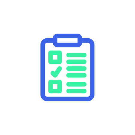 Clipboard checklist icon vector, filled flat sign, bicolor pictogram, green and blue colors. Symbol, logo illustration  イラスト・ベクター素材