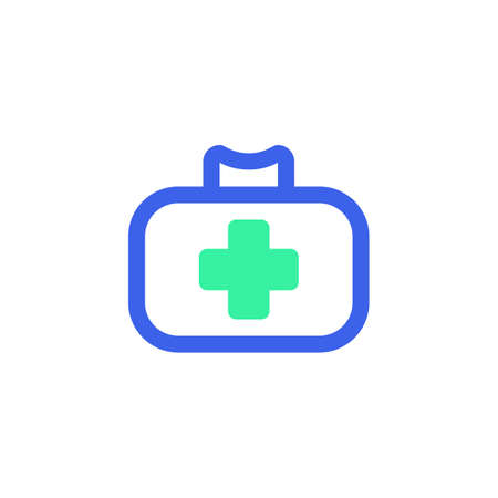 First aid kit icon vector, filled flat sign, medical bag bicolor pictogram, green and blue colors. Symbol, logo illustration  イラスト・ベクター素材