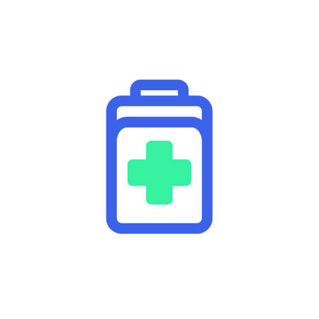 Doctor bag icon vector, filled flat sign, first aid kit bicolor pictogram, green and blue colors. Symbol, logo illustration  イラスト・ベクター素材