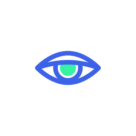 Human eye icon vector, vision filled flat sign, bicolor pictogram, green and blue colors. Symbol, logo illustration