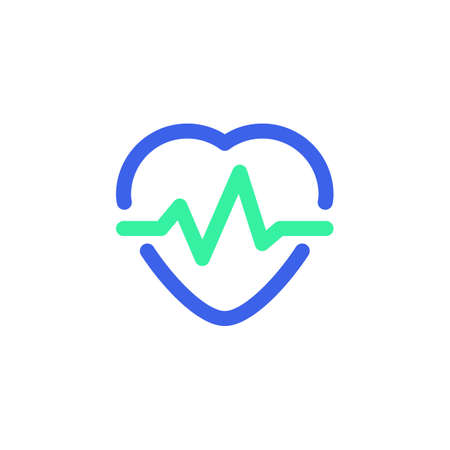 Pulse, heart beat icon vector, filled flat sign, bicolor pictogram, Heartbeat green and blue colors. Cardiology symbol, logo illustration  イラスト・ベクター素材