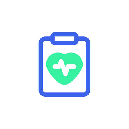 Heart cardiogram icon vector, heartbeat diagnosis filled flat sign, bicolor pictogram, green and blue colors. Symbol, logo illustration  イラスト・ベクター素材