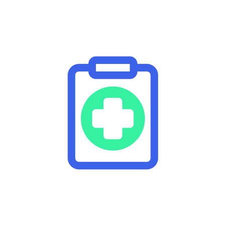 Clipboard with medical cross icon vector, filled flat sign, medical report bicolor pictogram, green and blue colors. Symbol, logo illustration  イラスト・ベクター素材