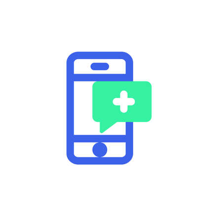 Medical comment icon vector, phone with medical message filled flat sign, bicolor pictogram, green and blue colors. Symbol, logo illustration
