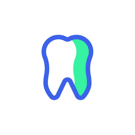 Dental, tooth icon vector, filled flat sign, bicolor pictogram, human tooth green and blue colors. Symbol, logo illustration