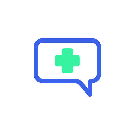 Medical chat message icon vector, filled flat sign, bicolor pictogram, green and blue colors. Symbol, logo illustration  イラスト・ベクター素材